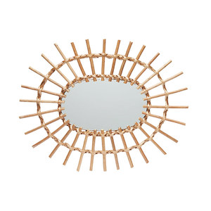 Medium hk living oval woven willow edge mirror