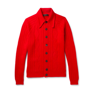 Medium prada jacquard knit virgin wool cardigan