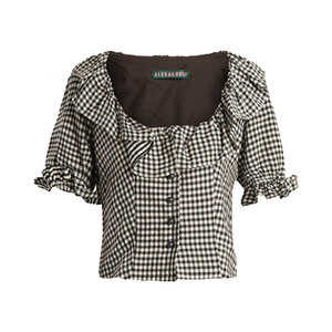 Medium alexa chung gingham ruffle trimmed cropped top