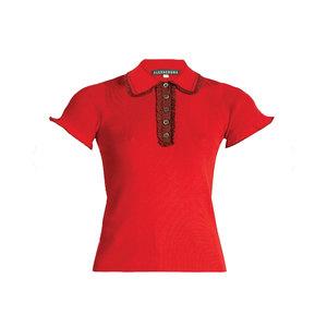 Medium alexa chung ruffle trimmed ribbed jersey top