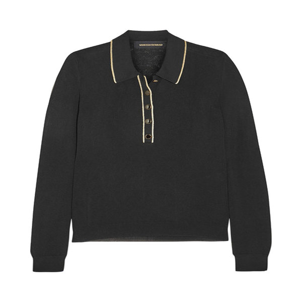 Large vanessa seward polo envy metallic trimmed fine knit sweater
