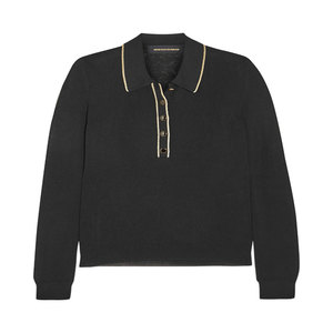 Medium vanessa seward polo envy metallic trimmed fine knit sweater