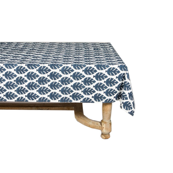 Large small neem mega dusty blue hand block tablecloth
