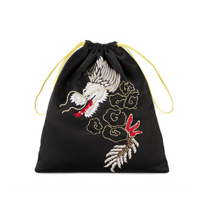 Medium browns attico satin dragon embroidered pouch