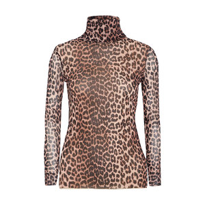 Medium gannitilden leopard print mesh turtleneck top