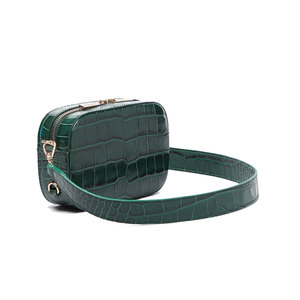 Medium emerald croc camera bag