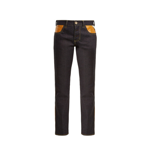 Medium wales bonner x chapal leather panel straight leg jeans