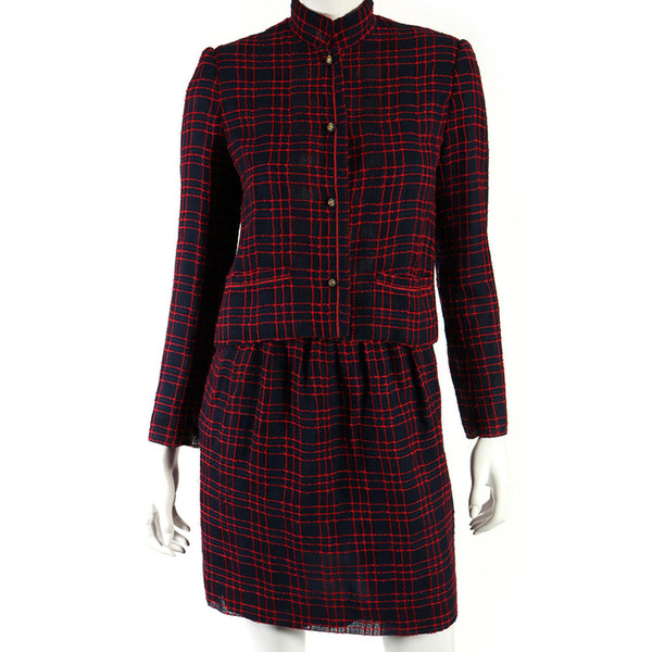 Large chanel creations vintage red   blue check embroidered skirt suit 36
