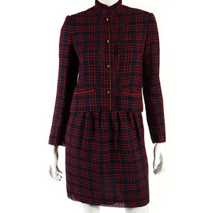 Medium chanel creations vintage red   blue check embroidered skirt suit 36