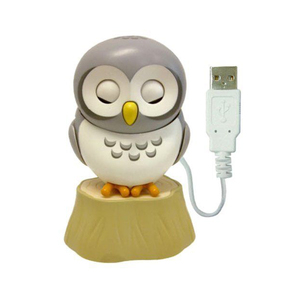 Medium healing owl from pc forest   usb type gadget   usb owl for desk  gray