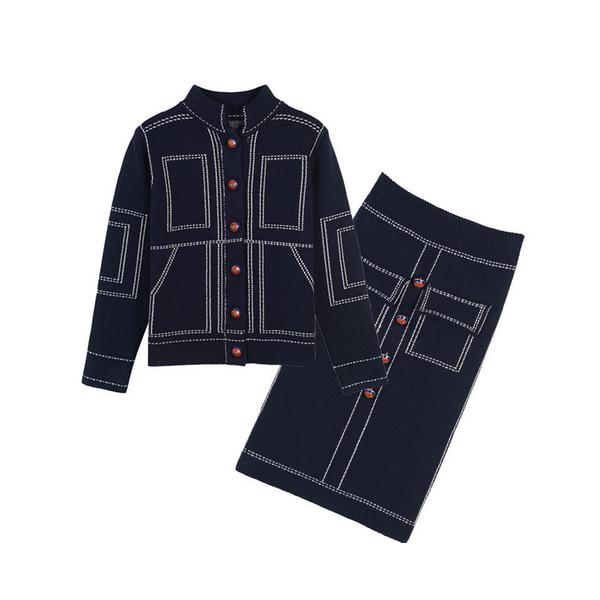 Large uk 2017 womens designer inspired wool knitwear cardigan  skirt 2 pieces suit