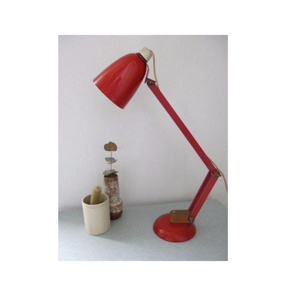 Large vintage red wooden arms conran maclamp 20th century desk lamp