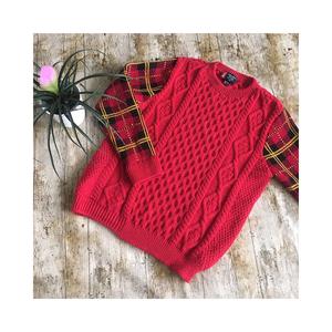 Medium vintage sweater shop red cable knit wool blend tartan jumper grunge 90s 10 12 14