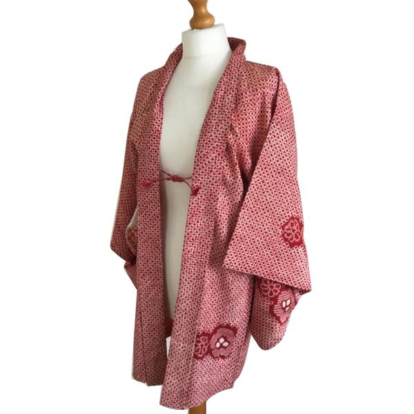 Large vintage gorgeous silk haori kimono jacket royal stunning tie dye design  72