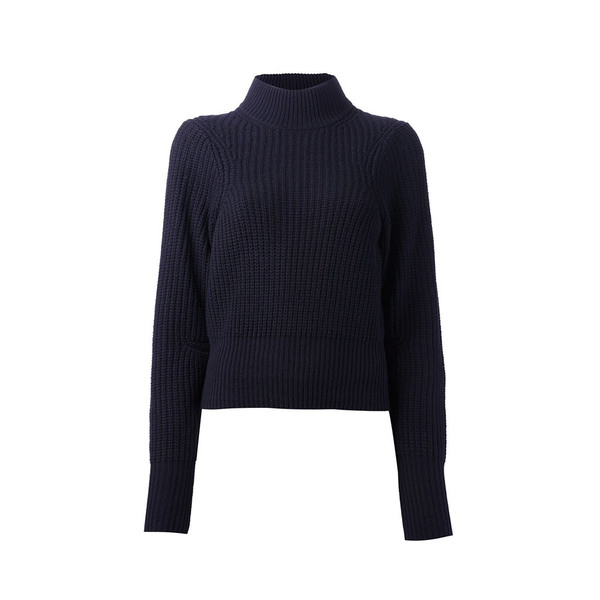 Large acne studios  loyal turtleneck wool sweater  navy dark blue knit jumper ribbed s