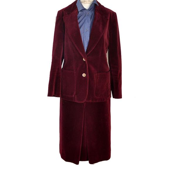 Large celine burgundy velvet skirt suit sz 40 france rare vintage 1960s archival stock