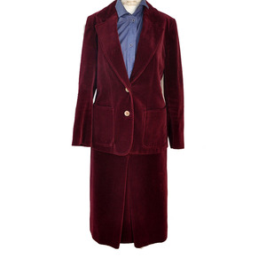 Medium celine burgundy velvet skirt suit sz 40 france rare vintage 1960s archival stock