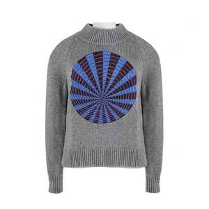 Medium dries van noten silver knit blue kaleidoscope print chunky sweater jumper m uk10