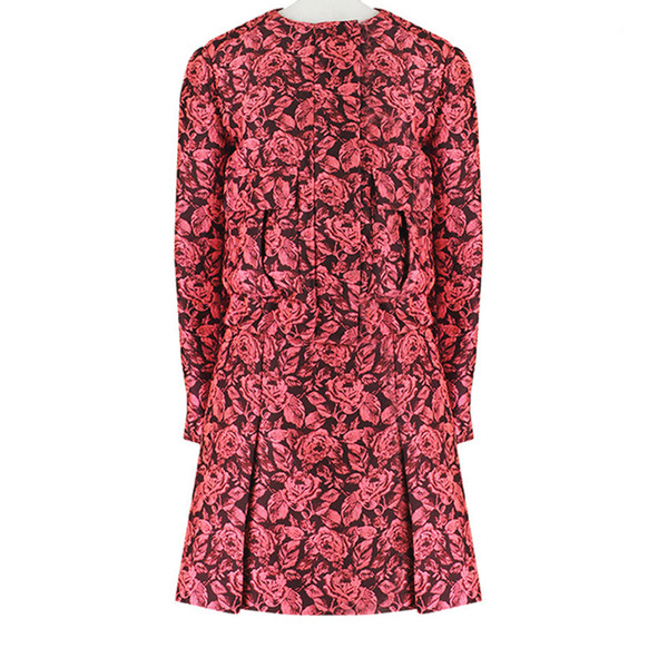 Large erdem luxurious pink bordeaux rose floral jacquard skirt jacket suit uk10 it4