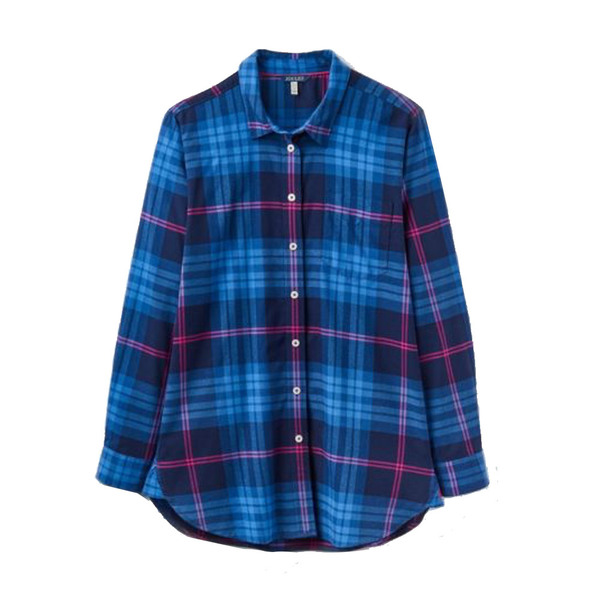 Large joules womens laurel long line shirt in blue and pink check uk size 12