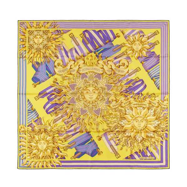 Large new authentic hermes silk scarf sangles phoebus   chartreuse violet