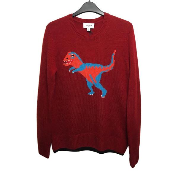 Large nwt coach t rex jumper red cashmere intarsia sweater celebrities  favourite s f3a2f2f56779