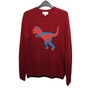 Medium nwt coach t rex jumper red cashmere intarsia sweater celebrities favourite s