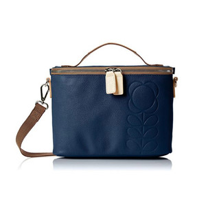 Medium orla kiely women s embossed flower leather mini box bag cross body bag blue