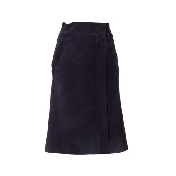 Large strenesse women leather skirt genuine leather blue 8