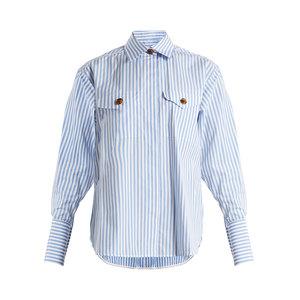 Medium khaite nico point collar striped cotton shirt