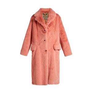 Medium burberry single breasted faux fur coat