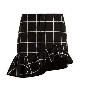 Medium checked ruffled hem cotton blend mini skirt