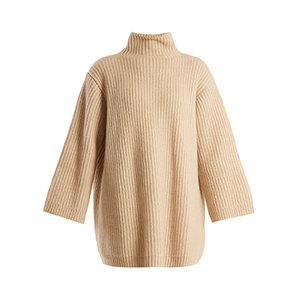 Medium khaite estella high neck ribbed knit cashmere sweater