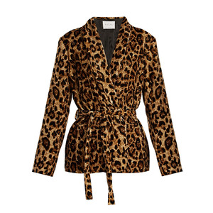 Medium velvet by graham and spencer calla leopard print tie waist velvet jacket