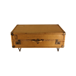 Medium antique parchment suitcase coffee table 1st dibs