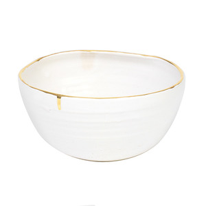 Medium no. x alex eagle   ceramic crushed bowl white and gold