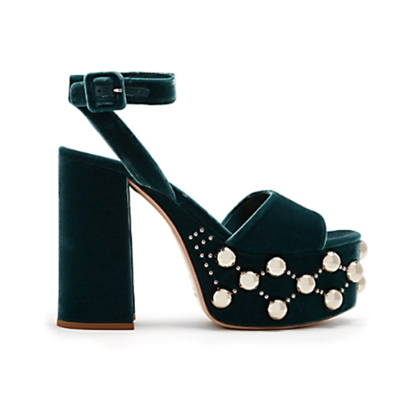 fcc51a87855 MIU MIU - Stud-embellished velvet platform sandals - Semaine