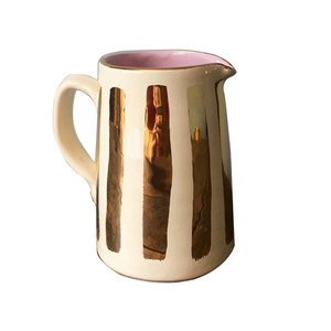 Medium striped gold ceramic jugmatilda goad