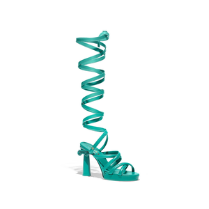 Medium chanel sandals goatskin green