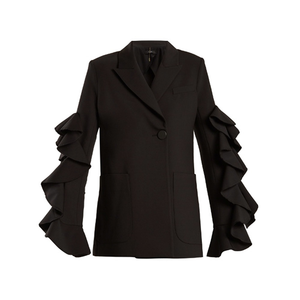 Medium ellery gold band double breasted ruffle trimmed jacket