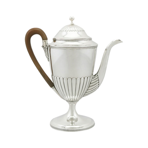 Medium sterling silver coffee pot by henry chawner   queen anne style   antique georgian  1794