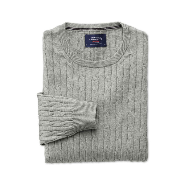 Large charles tyrwhitt grey cashmere cable
