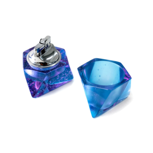 Medium octahedron table lighter and ashtray set