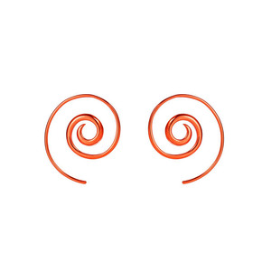 Medium noor flares rainbow spiral tribal earrings in orange