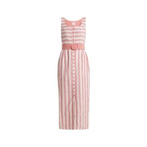 Medium gul hurgel belted striped linen blend dress