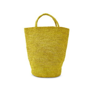Medium far and wide collective solid yellow woven rafia handbag far and wide