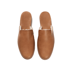 Medium hand sewn mule wool tan