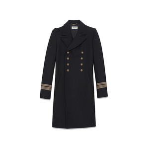 Medium saint laurent caban officer coat in black wool