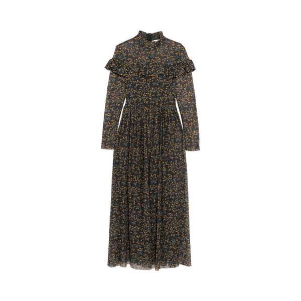 0a155540d03 Ganni - Tilden ruffled floral-print mesh maxi dress - Semaine