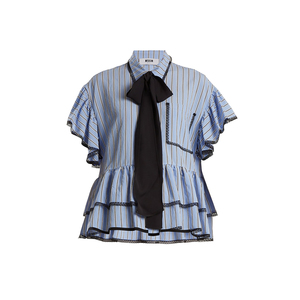 Medium msgn lace and ruffle trimmed striped shirt